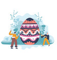 people decorating egg with ornaments for easter vector image