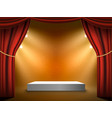 podium stage background red curtains show vector image
