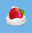 red apple in whipped cream or yogurt vector image vector image