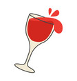 red wine pours out of overturned glass cartoon vector image