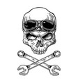 skull smiling with glasses for motorcycle vector image
