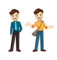 smart man character actions vector image vector image