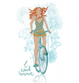 summer bicycle smiling girl vector image vector image