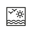 sun and sea icon on white background vector image vector image