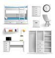 teen room realistic elements vector image