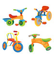 tricycle icons set cartoon style vector image