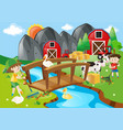 two boys and many animals in the farm vector image