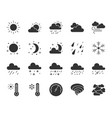 weather black silhouette icons set vector image
