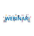 webinar banner - cartoon people surrounding giant vector image
