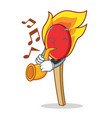 with trumpet match stick mascot cartoon vector image vector image