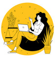 woman with a laptop on a sofa vector image vector image