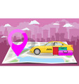 yellow taxi with bags and pink pin over folded map vector image vector image