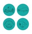 icon set over circles Sea life design vector image