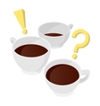 A cup of coffee with question and exclamation vector image vector image