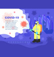 a man in overalls disinfects fight against covid19 vector image