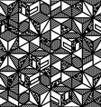 Abstract black and white cube geometric pattern in vector image