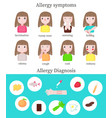 allergy symptoms and diagnosis infographics vector image vector image