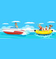 banana boat with group vector image vector image