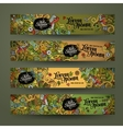 banner templates set with doodles camping theme vector image