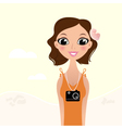 Beautiful tourist photographer girl vector image vector image