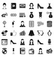 beautiful woman icons set simple style vector image