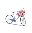blue bicycle with a basket full flowers vector image vector image