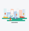 carsharing banner - cartoon man choosing a ride on vector image