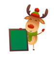 cartoon cute reindeer with message board on white vector image