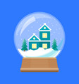 cartoon snow globe with home building vector image