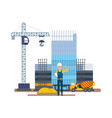 chief production next to multi-storey building vector image vector image