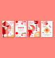 chinese new year ox 2021 abstract red card set vector image vector image
