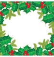 Christmas background with holly berry leaves on vector image vector image