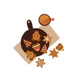 christmas gingerbreads top view flat vector image vector image