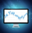 computer with forex chart on desktop vector image vector image