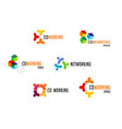 coworking space networking zone logo and icons vector image