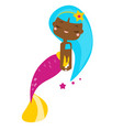 cute cartoon dark skin mermaid vector image