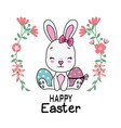 cute rabbit with easter eggs vector image