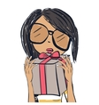 Cute trendy girl Fashion girl with gifts vector image vector image