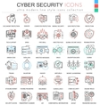 Cyber security ultra modern color outline vector image vector image