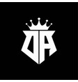da logo monogram shield shape with crown design vector image vector image