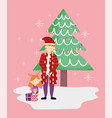 dad and daughter with gifts tree merry christmas vector image vector image