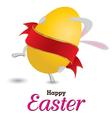 Easter bunny with big egg Little gift at Easter vector image