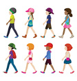 Faceless young girls and boys walking vector image vector image