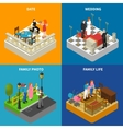 Family 4 Isometric Icons Square Banner vector image vector image