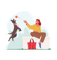 female character playing ball with pet spending vector image vector image