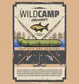 fishing wild camp adventure fisher equipment vector image vector image