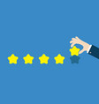 five star rating selection system custumer review vector image