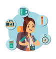flat tourist character with tourism accessories vector image