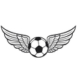 football ball with wings emblem vector image vector image