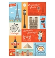 France Paris Vintage Style Icons Set vector image